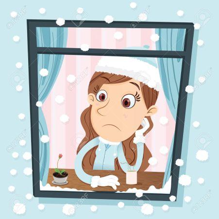 Cartoon girl sitting near the window on snow day
